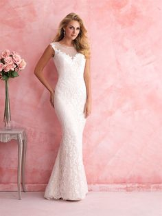 Allure Romance 2812 - Highlight your curves in this lace sheath, with sheer illusion paneling at the neckline and back.