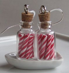 polymer clay candy canes in a glass jar