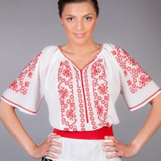 On a hot summer day it is nice to wear something that makes you feel comfortable, and also gives you a touch of elegance. This model of our tradtional Romanian Blouse carries with itself a cheerful colour and the embroidery that represented by stylized leaves and flowers give you a modern air!  #florideie #fashion #romaniandesign #traditional #trend #summer #style #embroidery #colorful #fresh #elegant Summer Collection, Floral Tops, Kimono Top, Tunic Tops, Embroidery, Elegant, How To Wear, Beautiful, Ethnic