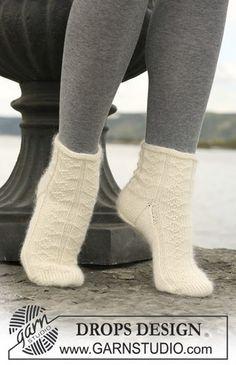 "Ravelry: Socks with pattern in ""Merino"" and ""Kid-Silk"" pattern by DROPS design Knitting Kits, Knitting Videos, Knitting Socks, Knitting Patterns Free, Free Knitting, Free Pattern, Drops Design, My Socks, Cool Socks"
