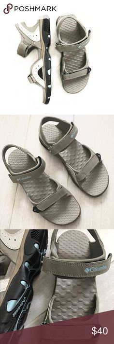 🎉HP🎉Columbia Beige Walking Sandals Sturdy walking sandals with adjustable velcro straps at ankle and across toes. Tan color with baby blue and cream accents and black bottom. Worn only once! Columbia size 8.  🎉host pick🎉casual cool party 3.5.2017🎉 Columbia Shoes Sandals