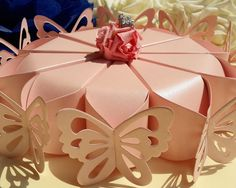 10× Pink Butterfly Candy Boxes Cake Style Wedding Party Favors Gift Boxes