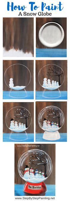 How To Paint A Snow Globe - Step By Step Painting Learn how to paint a snow globe with acrylics on canvas. This beginner painting tutorial will show you how. Customize your own family of snowmen inside. Painting For Kids, Diy Painting, Art For Kids, Painting Snow, Painting Canvas, Winter Painting, How To Paint Canvas, Basic Painting, Canvas Painting Tutorials