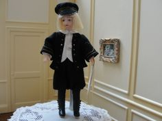"""Karen Rozmus, porcelain, Connie Suave, The China Doll, costuming. porcelain boy Little Lord Fauntleroy"""",  reproduction of an A. Marque antique doll. 4 1/2' tall."""