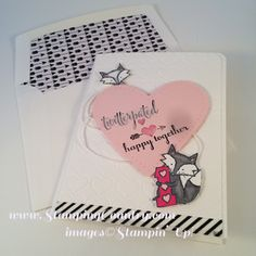 Who says that the Hey, Valentine is just a kids Valentine stamp set? Today the little foxes from the Hey, Valentine stamp set join the You Plus Me and the A Dozen Thoughts stamp sets to make a furry Anniversary Card. Valentines For Kids, Valentine Cards, Happy Together, Masculine Cards, Anniversary Cards, A5, Stamping, Perfect Fit, Stencils