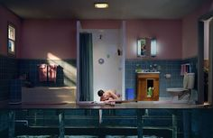 Gregory Crewdson I love Crewdsons work how he sets it up in such ordinary places inside a house, but uses light to the best of his ability. There is something eerie about his work which I like. This particular work adds another perspective, that we would not be able to see in a ordinary bathroom, seeing beyond the usual.