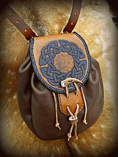 Knotwork Sporran Bag by Half-Goat Leather Carving, Leather Art, Custom Leather, Leather Pouch, Leather Tooling, Leather Purses, Leather Backpack, Viking Clothing, Dice Bag