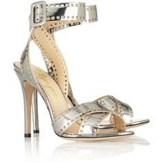 Charlotte Olympia Take 110 metallic-leather sandals (€335) ❤ liked on Polyvore featuring shoes, sandals, heels, charlotte olympia, silver, high heels, strappy high heel sandals, heeled sandals, leather high heel sandals and leather heeled sandals
