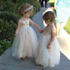Gold Sequined Satin Flower Girl Dress A-Line Tulle Bridesmaid Wedding Party Gown #Handmade #DressyEverydayPageantWedding