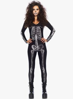 X-ray skeleton catsuit with zipper back 85% Polyester 15% Spandex Imported Item cannot be shipped to P.O. Boxes PayPal/Venmo is currently not accepted on Presale and Backorder items.