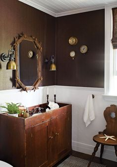 This small bathroom in Muskoka was treated to rich herringbone wallpaper, industrial brass sconces and an antique Canadian pine dry sink. Cottage Style Bathrooms, Cabin Bathrooms, Rustic Bathrooms, Small Bathrooms, Basement Bathroom, Rustic Bathroom Designs, Diy Bathroom Decor, Diy Home Decor, Bathroom Ideas