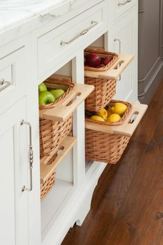 Basket drawers work in place of traditional cabinets as clever storage for paper products, cleaning supplies or produce, as shown here.