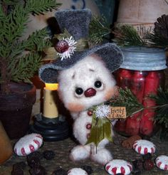 Primitive Frosty Snowflake Christmas Ornament Snowman Doll Vtg Patti's Ratties  For ordering information contact me at pattisratties3d@yahoo.com