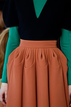 Nina Garcia - colour blocks and unusual pleat detail to add dimension - fashion design, fabric manipulation