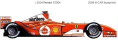 2004:Ferrari F2004 v10 world champion with Michael Schumacher. 5 consective world championships!