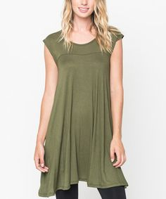 Loving this Olive Cap-Sleeve Tunic on #zulily! #zulilyfinds