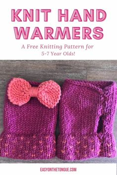 Knit hand warmers for childen,  a knitting pattern for 5 to 7 year olds on easyonthetongue.com.  This is an easy knitting project that you can easily start and finish in 2 nights.  Knit the fingerless gloves in contrasting colors for a stunning effect.  You'll have to click through for the pattern and while you are on the blog, please care to share! Easy Knitting Patterns, Knitting Stitches, Free Knitting, Knitting Projects, Crafts To Make And Sell, Garter Stitch, Hand Warmers, Yarn Crafts, Printing On Fabric