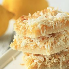 Lemon bars with go to a new height with a sprinkle of coconut on top!  A refreshing dessert, perfect to make for your next pot luck party!