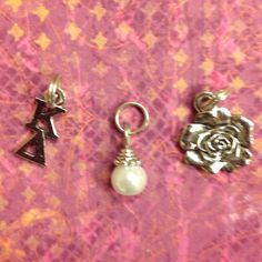 Sorority Greek Kappa Delta Trio Charm set - rose mascot charm, lavaliere, & pearl dangle by AnnPedenJewelry on Etsy