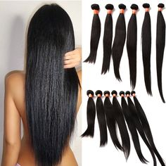 Natural Black 100% Real Human Hair Extensions Silky Straight 50g/pc Hair Wefts #WIGISS #HairExtension