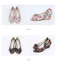 YESSTYLE: Styleberry- Floral Print Peep-Toe Wedge Pumps (Ivory - 250) - Free International Shipping on orders over $150