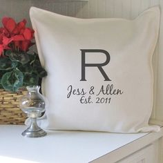 Gift - $29.95 monogram couple personalized pillow cover by ElizaJayHome on Etsy