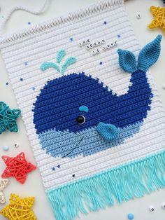 Crochet Whale, Crochet Wall Art, Crochet Dinosaur, Crochet Wall Hangings, Crochet Baby Toys, Tapestry Crochet, Macrame Patterns, Crochet Patterns, Yarn Tail