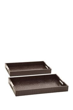 Brown Wood Leatherette Tray - Set of 2