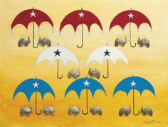 Jonathan Winters (1925-2013)  Elephants and Umbrellas  signed 'Jonathan Winters' with artist's device (lower right)  mixed media on canvas  18 x 24 in. (45.7 x 61 cm.)
