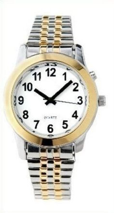 94d10cab8cc Men s Deluxe Talking Wrist Watch Two Tone for the Blind and Low Vision