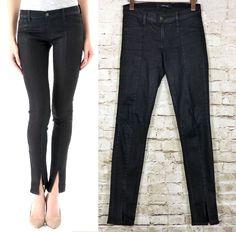 J BRAND Vera Front Slit Leg Mid Rise Black Leather Coated Skinny Jean 26   216. Coated JeansWomen s ... 1b711b7bb4