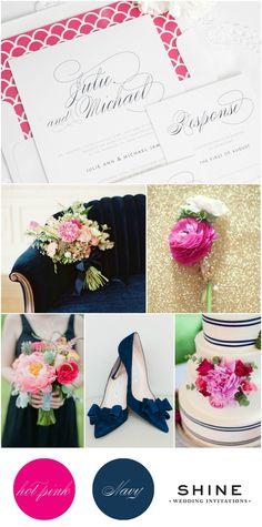 Hot Pink and Navy Wedding Inspiration   Shine Wedding Invitations