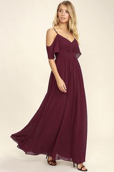 This pretty merlot hued dress will look so chic on your bridesmaids.