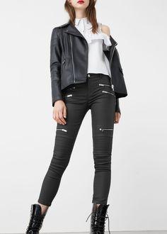 Zip cotton trousers | MANGO