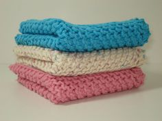 Handknitted Dishcloths  Pink Blue and Natural  Set of by tonebelle, $9.00