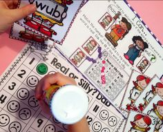 Review literacy skills using bingo dabbers... beginning sounds, ending sounds, CVC words, real/silly words, sight words, and more. Great resource for the whole year!