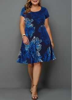 Short Sleeve Printed Plus Size High Waist Dress Plus Size Dresses, Dresses For Sale, Plus Size Outfits, Dresses Online, Trendy Dresses, Plus Size Clothing Stores, Spandex Dress, Plus Size Shorts, Navy Blue Dresses