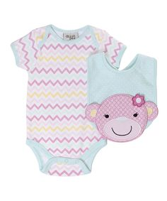 Look at this chick pea Pink & Blue Zigzag Monkey Business Bodysuit & Bib - Infant on #zulily today!