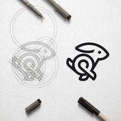 Rabbit Bunny + Q + P Logo Corporate Golden Ratio Monogram Logo Design Process ©. Corporate Logo Design, Best Logo Design, Branding Design, Graphic Design, Monogram Logo, Monogram Design, Logo Sketches, Brain Logo, Logo Creation