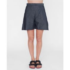 Jolie cotton chambray shorts in black ($209) ❤ liked on Polyvore featuring shorts, zipper shorts and long shorts