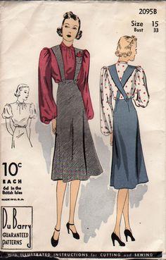 "VTG DUBARRY Sewing Pattern - ""Easily Made"" Blouse & Suspender Skirt - Bust 33"""