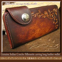Rakuten: 5 degrees craftsman dyeing silhouette carving USA Indian concho long leather wallet / long wallet men- Shopping Japanese products from Japan
