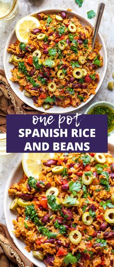 Spanish Rice and Beans uses pantry staples to create a nutritious and flavorful one pot meal. Vegetarian, gluten free, and a complete source of plant protein, this easy dinner will become a family favorite. Healthy Rice Recipes, Rice Recipes For Dinner, Cooking Recipes, One Pot Dinners, Easy One Pot Meals, Healthy One Pot Meals, Easy Dinners, Meals For One, One Pot Vegetarian