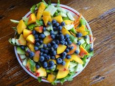 summer peach and blueberry salad -kids' favorite because they inhale it!