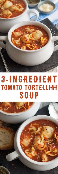 3 Ingredient Tomato Tortellini Soup - if you're short on time, make this soup! It only takes 15 minutes from start to finish and is full of flavor. Plus, 3 variations are included with easy additions for more soup deliciousness!   honeyandbirch.com