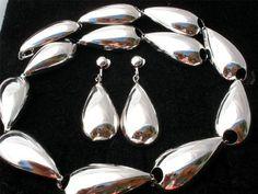 Signed Crown Trifari Silver Estate Demi Set Vintage Necklace Earrings Estate   eBay