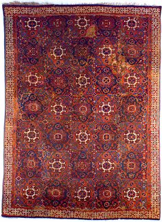 'Holbein' Carpet, 15th–16th century, Turkey.  Wool; symmetrically (?) knotted pile Dimensions: L. 109 in. x W. 80 in.