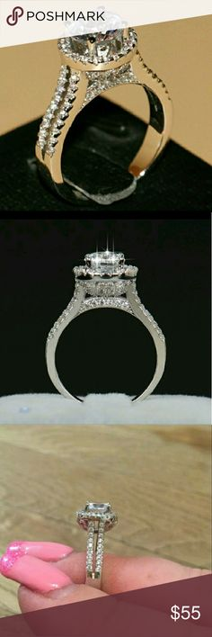 NWT Cathedral Cz 925 Engagement Ring Size 6 An absolutely gorgeous ring with a sparkle of beauty.  This is a great ring that will get lots of attention. Stamped 925. I have this in a size 7 as well. Jewelry Rings