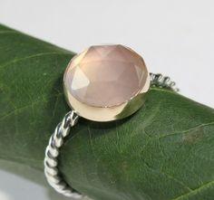 Rose Cut Rose Quartz Ring - Made To Order