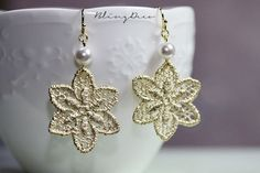 Matte Gold Plated Petal Lace Filigree With Pearl Earrings #DropDangle